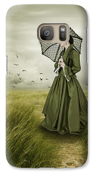 Galaxy Case featuring the photograph Woman With Parasol Standing In Green Field by Ethiriel  Photography