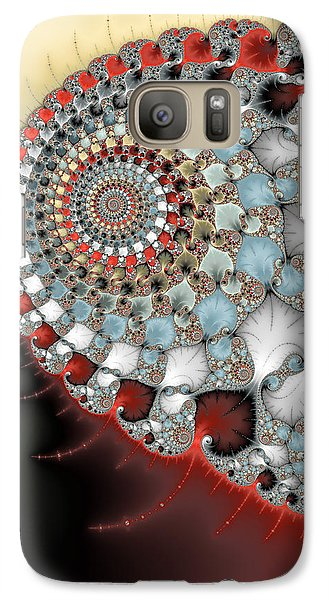 Wonderful Abstract Fractal Spirals Red Grey Yellow And Light Blue Galaxy S7 Case