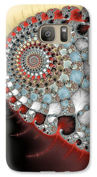 Wonderful Abstract Fractal Spirals Red Grey Yellow And Light Blue Galaxy S7 Case by Matthias Hauser