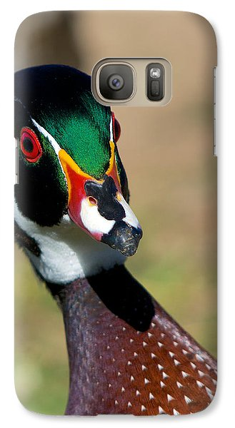 Galaxy Case featuring the photograph Wood Duck Drake Looking At Me by Stephen  Johnson