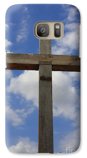 Galaxy Case featuring the photograph Wooden Cross by Jerry Bunger