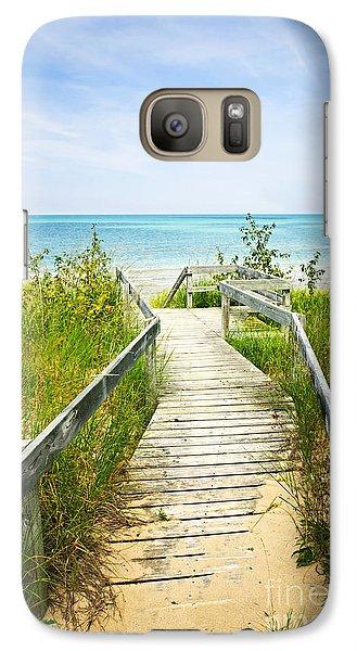 Wooden Walkway Over Dunes At Beach Galaxy S7 Case
