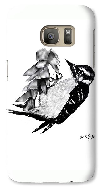 Galaxy Case featuring the drawing Woodpecker by Terry Frederick
