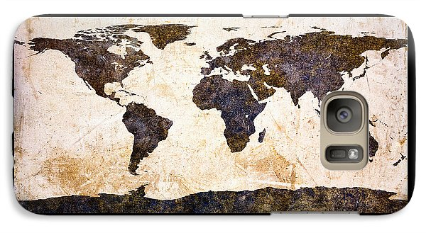 World Map Abstract Galaxy S7 Case by Bob Orsillo
