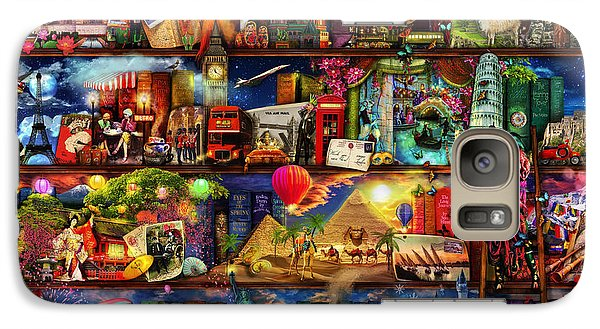 World Travel Book Shelf Galaxy S7 Case by Aimee Stewart