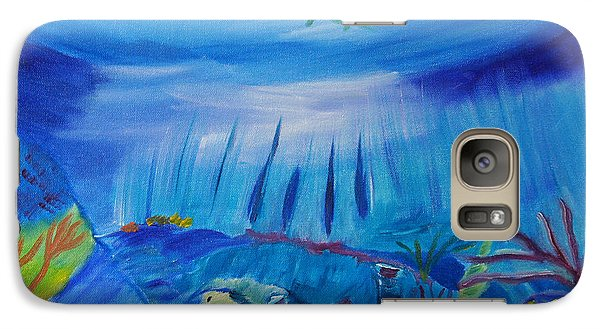 Galaxy Case featuring the painting Worlds Below The Sea by Meryl Goudey