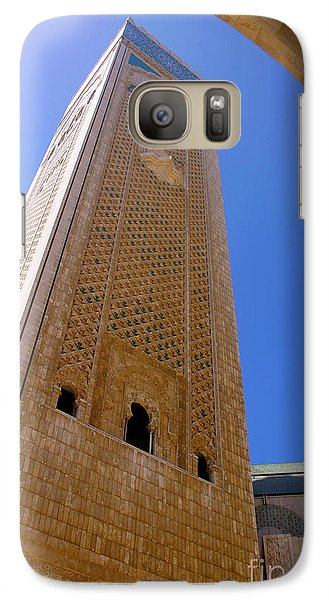 Galaxy Case featuring the photograph Worlds Tallest Minaret At 210m Hassan II Mosque Grand Mosque Sour Jdid Casablanca Morocco by Ralph A  Ledergerber-Photography