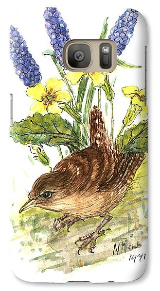 Wren In Primroses  Galaxy S7 Case by Nell Hill