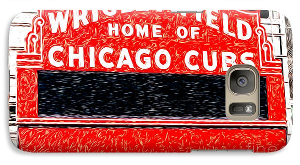 Wrigley Field Chicago Cubs Sign Digital Painting Galaxy Case by Paul Velgos