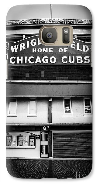 Wrigley Field Chicago Cubs Sign In Black And White Galaxy Case by Paul Velgos
