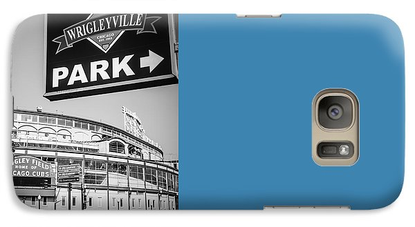 Wrigleyville Sign And Wrigley Field In Black And White Galaxy Case by Paul Velgos