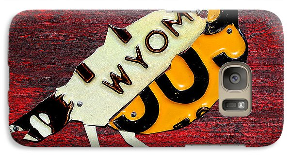 Wyoming Meadowlark Wild Bird Vintage Recycled License Plate Art Galaxy Case by Design Turnpike