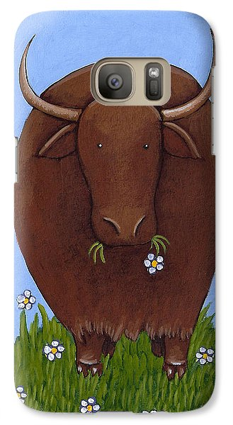 Whimsical Yak Painting Galaxy Case by Christy Beckwith