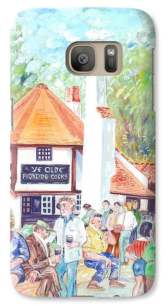 Galaxy Case featuring the painting Ye Olde Fighting Cocks With Summer Revellers by Giovanni Caputo