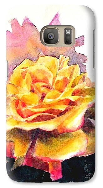 Galaxy Case featuring the painting Yellow Rose Fringed In Red by Greta Corens