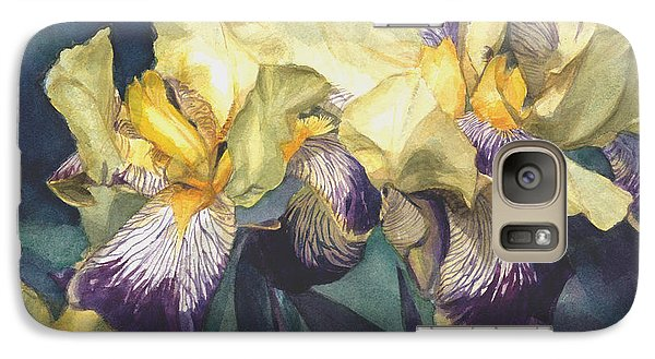 Galaxy Case featuring the painting Yellow And Purple Streaked Irises by Greta Corens