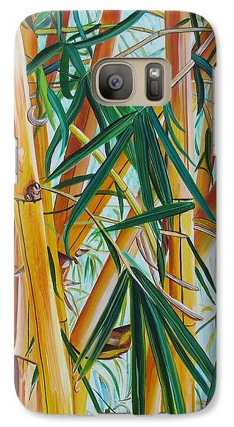 Galaxy Case featuring the painting Yellow Bamboo by Marionette Taboniar