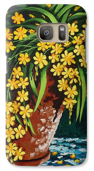Galaxy Case featuring the painting Yellow Cascade by Katherine Young-Beck