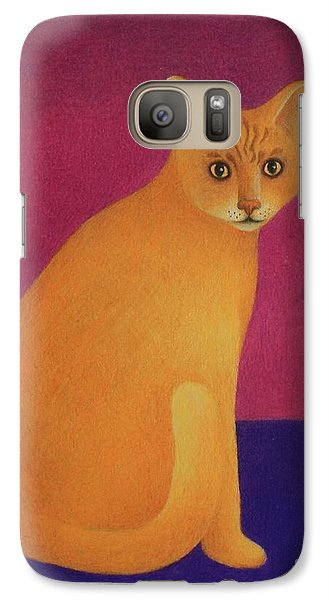 Galaxy Case featuring the painting Yellow Cat by Pamela Clements