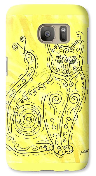 Galaxy Case featuring the painting Yellow Cat Squiggle by Susie Weber