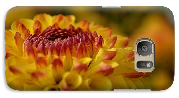 Galaxy Case featuring the photograph Yellow Dahlia Red Tips by Scott Lyons