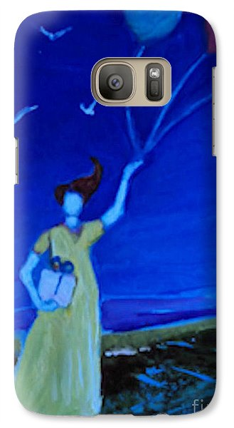 Galaxy Case featuring the painting Yellow Dress Three Balloons by Diane Ursin