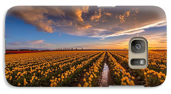 Yellow Fields And Sunset Skies Galaxy Case by Mike Reid