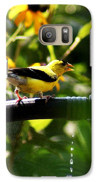 Galaxy Case featuring the photograph Yellow Finch With A Water Leak by B Wayne Mullins