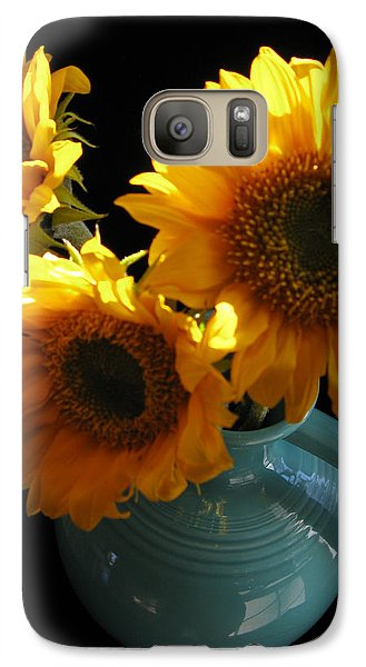 Galaxy Case featuring the photograph Yellow Flowers In Fiesta Pitcher by Patricia Januszkiewicz