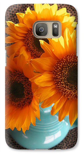 Galaxy Case featuring the photograph Yellow Flowers In Fiesta Ware by Patricia Januszkiewicz
