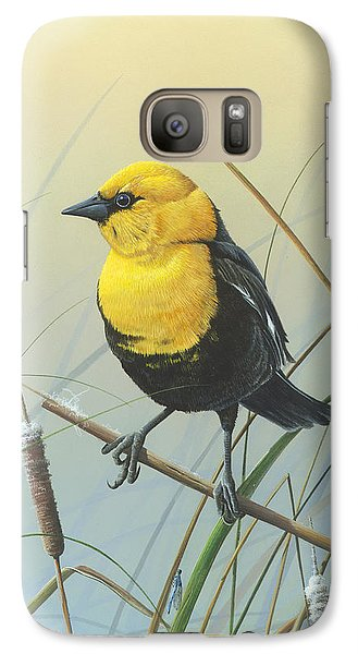 Galaxy Case featuring the painting Yellow-headed Black Bird by Mike Brown