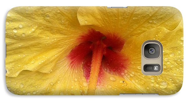 Galaxy Case featuring the photograph Yellow Hibiscus In The Rain II by Alohi Fujimoto