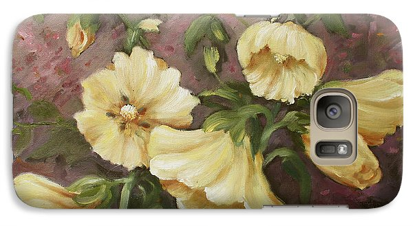 Galaxy Case featuring the painting Yellow Holyhock by Marta Styk