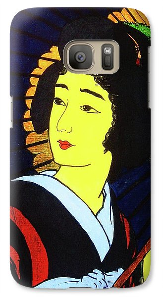 Galaxy Case featuring the painting Yellow Moon Geisha by Roberto Prusso