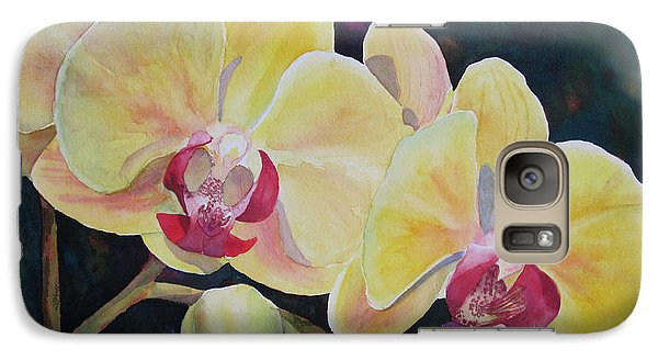 Galaxy Case featuring the painting Yellow Orchids by Judy Mercer