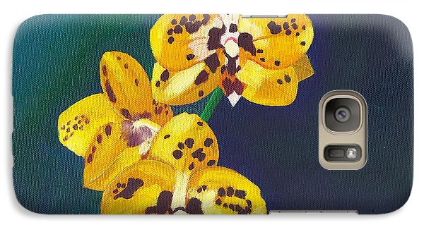 Galaxy Case featuring the painting Yellow Orchids by Laura Forde