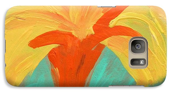 Galaxy Case featuring the painting Yellow Palm by Mary Carol Williams