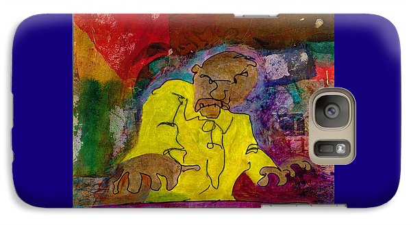 Galaxy Case featuring the mixed media Yellow Piano Man by Catherine Redmayne