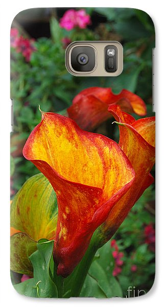 Galaxy Case featuring the photograph Yellow Red Calla Lily by Eva Kaufman