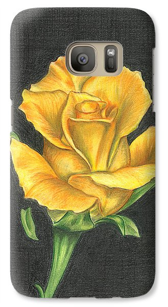 Galaxy Case featuring the drawing Yellow Rose by Troy Levesque