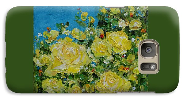 Galaxy Case featuring the painting Yellow Roses by Judith Rhue