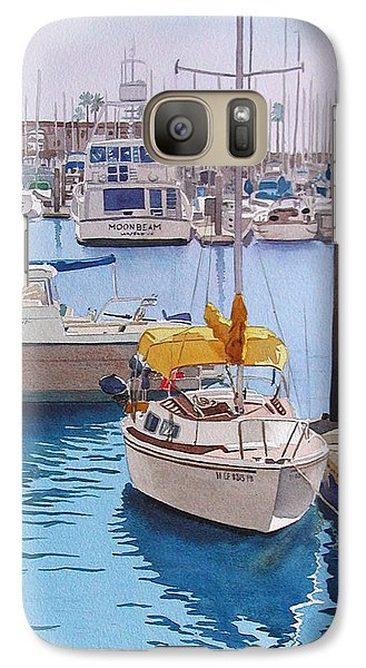 Boat Galaxy S7 Case - Yellow Sailboat Oceanside by Mary Helmreich