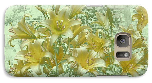 Galaxy Case featuring the photograph Yellow Stargazers On Soft Green by Tom Wurl