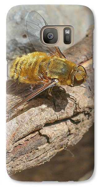 Galaxy Case featuring the photograph Yellow True Bee Fly - Bombiliinae by Jivko Nakev