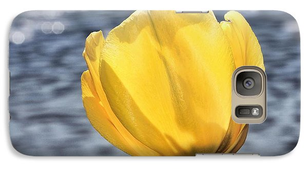 Galaxy Case featuring the photograph Yellow Tulip Shimmering Water by Tracie Kaska