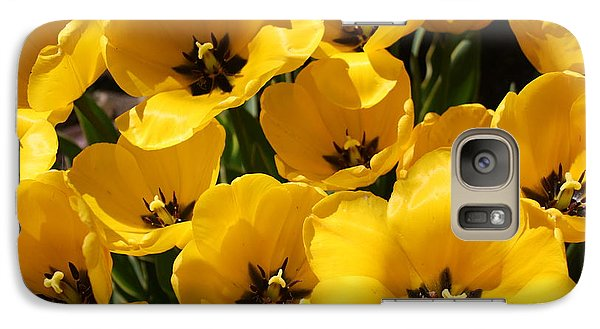 Galaxy Case featuring the photograph Golden Tulips In Full Bloom by Dora Sofia Caputo Photographic Art and Design