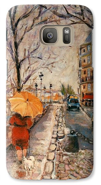 Galaxy Case featuring the painting Yellow Umbrella by Walter Casaravilla