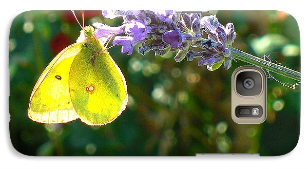 Galaxy Case featuring the photograph Yellow Wings On Lavendar by Heidi Manly