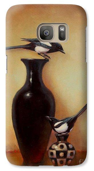 Magpies Galaxy S7 Case - Yin Yang - Magpies  by Lori  McNee