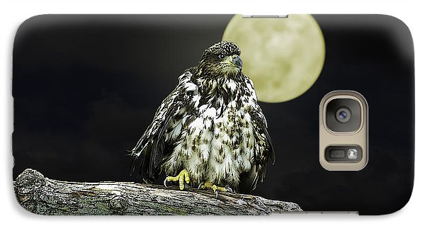 Galaxy Case featuring the photograph Young Bald Eagle By Moon Light by John Haldane